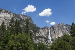 Landscape of Yosemite Falls in Early Summer Stock Photography