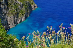Summer landscape in Zakynthos Island, landmark attraction in Greece. Ionian Sea. Seascape stock photos