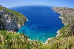 Summer landscape in Zakynthos Island, landmark attraction in Greece. Ionian Sea. Seascape Royalty Free Stock Photography