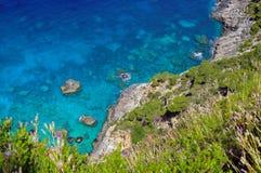 Summer landscape in Zakynthos Island, landmark attraction in Greece. Ionian Sea. Seascape Royalty Free Stock Photos
