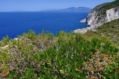Summer landscape in Zakynthos Island, landmark attraction in Greece. Ionian Sea. Seascape Stock Photos