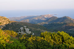 Landscape of Zakynthos mountains from Skopos hill, Greece Royalty Free Stock Photo