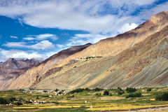 Landscape of Zanskar Valley, Stongde Monastery also can be seen in the background hills, Zanskar, Ladakh, Jammu and Kashmir, India Royalty Free Stock Images