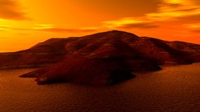 Landscape03. The fantasic sunset island of fantasy Stock Images