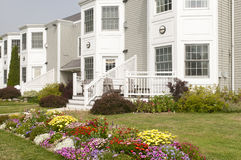 Landscaped apartment flowerbeds Royalty Free Stock Image