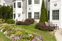 Landscaped apartment flowerbeds Royalty Free Stock Photography