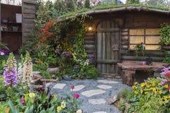 Backyard flower garden Royalty Free Stock Photo
