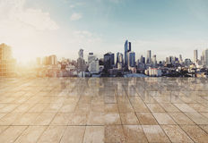 Landscaped Bangkok cityspace in sunrise with empty floor. For copy space stock images