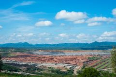 Landscaped lignite coal mining Power Plant in Thailand royalty free stock photography