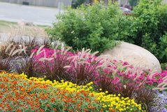 Landscaped flower garden Stock Photos