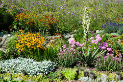 Landscaped flower garden stock photography