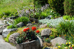 Landscaped flower garden royalty free stock image