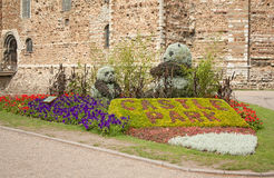 Landscaped Garden. With colourful flowers and two bears Royalty Free Stock Photography