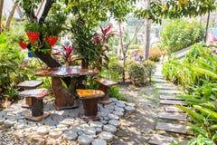 Landscaped Garden. In wat sala loy Stock Image