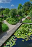 Landscaped garden and pond Royalty Free Stock Image