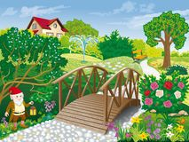 Landscaped garden with wooden bridge and garden gnome. Vector image of a summer garden with a wooden bridge, a bench and a garden gnome stock illustration