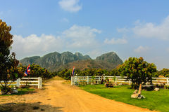 Landscaped gardens in the fence with mountains Royalty Free Stock Photography