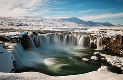 Landscaped, Godafoss water fall at winter in Iceland