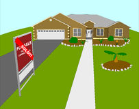 Landscaped Home Sold Illustration. For sale house that has been sold. Has landscaping stock illustration
