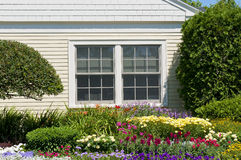 Landscaped house flowers. Landscaping at country house with window and flower garden or flowerbed Stock Photos