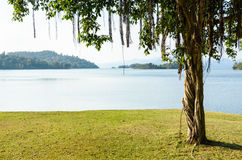 Landscaped lawns for leisure on a Kaeng Kra Chan lake Royalty Free Stock Photo