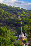 Landscaped Park Guell. Designed by Antonio Gaudi in Barcelona. Spain stock photo
