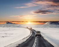 Landscaped, road trip on the country road in sunrise. In Iceland in winter Stock Photos