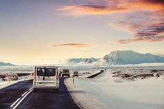 Landscaped, road trip on the country road in sunrise. In Iceland in winter Royalty Free Stock Photography