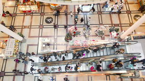 Landscaped scene of people in the shopping mall stock footage