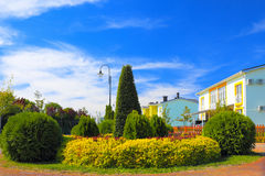 Landscaped and trimmed front yard Stock Image