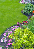 Landscaped Yard and Garden. A beautiful landscaped yard and garden with a variety of perennials and annuals Stock Images