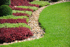 Landscaped Yard and Garden. A beautiful landscaped yard and garden Royalty Free Stock Photos