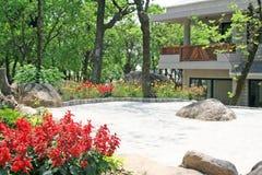 Landscaped zen garden. And porch portico, india Royalty Free Stock Photos