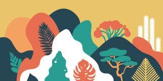 LandscapeMountain heuvelig landschap met tropische installaties en bomen, palmen, succulents Aziatisch landschap in warme pastelk royalty-vrije illustratie