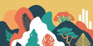 LandscapeMountain hilly landscape with tropical plants and trees, palms, succulents. Asian landscape in warm pastel colors. Scandi royalty free illustration