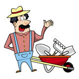 Landscaper dos desenhos animados com carrinho de mão e ferramentas de jardim Fotografia de Stock Royalty Free