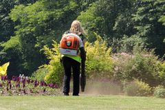 Landscaper Operating Leaf Blower Stock Photography