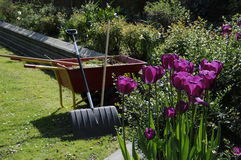 LANDSCAPER WASTE TROLLEY. Copenhagen /Denmark - 18. May 2017. Landscaper left his waste trolley behine in garden . Photo.Francis Dean/Deanpictures Royalty Free Stock Photos