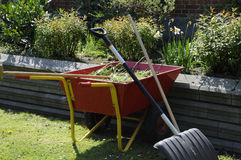 LANDSCAPER WASTE TROLLEY. Copenhagen /Denmark - 18. May 2017. Landscaper left his waste trolley behine in garden . Photo.Francis Dean/Deanpictures Stock Photos