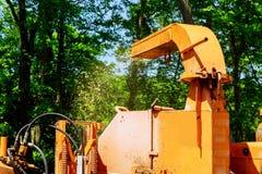 Landscapers używa przecinak maszynę usuwać pił łańcuchowych gałąź i ciągnąć zdjęcie stock