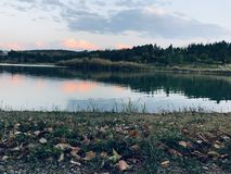 Landscapes,Sunset, sunset,Green grass stock photography