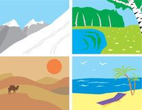 landscapes примитивный тип Иллюстрация вектора