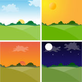 Landscapes. Vector illustration of Landscapes showing day cycle. EPS Available. No transparencies Stock Photo