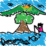 Landscapes abstract background  handwriting children. Landscapes background from handwriting children Stock Photography