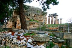 Old Greek corinth. Landscapes of ancient Greece. the remains of the old corinth Stock Photos