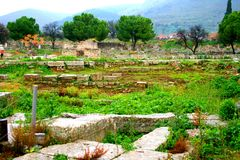 Old Greek corinth. Landscapes of ancient Greece. the remains of the old corinth Stock Photo