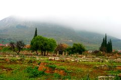 Old Greek corinth. Landscapes of ancient Greece Stock Images