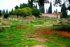 Old Greek corinth. Landscapes of ancient Greece. the remains of the old corinth Royalty Free Stock Image