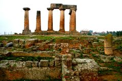 Old Greek corinth. Landscapes of ancient Greece. the remains of the old corinth Stock Image