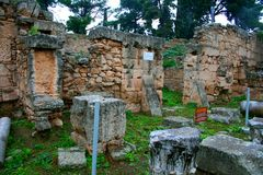 Old Greek corinth. Landscapes of ancient Greece. the remains of the old corinth Royalty Free Stock Photos
